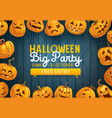halloween pumpkins frame night party invitation vector image