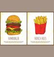 hamburger and french fries vector image vector image
