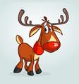 happy cartoon red nose reindeer vector image vector image