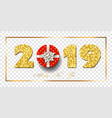 happy new year card 3d red gift box ribbon bow vector image