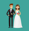 happy newlyweds or bride and groom wedding cartoon vector image