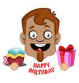 human emoji happy birthday expression on white vector image vector image