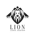 lion logo design black and white element for vector image
