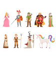 medieval historical characters knight king queen vector image