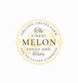 melon farm round frame badge or logo template vector image