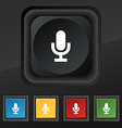 microphone icon symbol Set of five colorful vector image