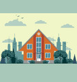 modern cottage house with trees and city vector image vector image