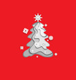 monochrome fir tree on red vector image