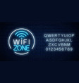 neon sign free wifi zone in circle frame with vector image vector image