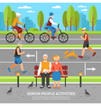 Old People Activities Background vector image vector image