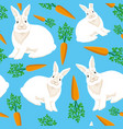 rabbits and carrots on a blue background vector image vector image