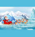 scene with santa riding on sleigh vector image vector image