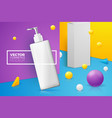 scene with text shampoo bottle and box vector image
