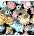 seamless pattern with cute kawaii cats fun animal vector image vector image