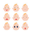 set of flat baby faces showing different emotions vector image