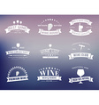 set wine logos with ribbons vector image
