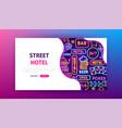 street hotel neon landing page vector image vector image
