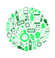 time theme modern simple green icons in circle vector image vector image