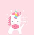 unicorn print design with slogan vector image vector image