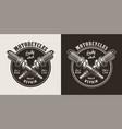 vintage motorcycle repair shop round logo vector image vector image