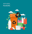 waste plastic sorting flat style design vector image