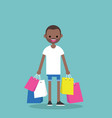 young black man holding shopping bags flat vector image vector image