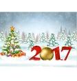 2017 Christmas card with ball vector image