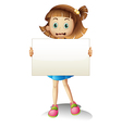 A child holding an empty signboard vector image vector image