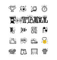 a set soccer icons and lettering football in a vector image vector image