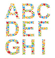 alphabets set letters stylized colorful bubbles vector image