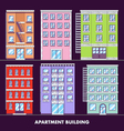 Apartment building flat design minimalist and full