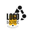 backhoe logo excavator equipment service label vector image vector image