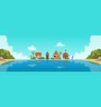 beach resort with guest houses or bungalows flat vector image vector image