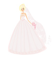 Beautiful blond bride with flowers vector image vector image
