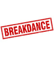 Breakdance red square grunge stamp on white