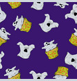 bright seamless pattern with ghosts cupcakes vector image