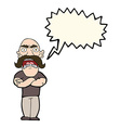 cartoon angry man with speech bubble vector image