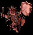 cartoon man shaman dancing dance with a tambourine vector image vector image