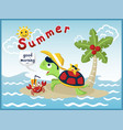 cartoon of holiday in the beach with funny turtle vector image vector image