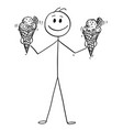cartoon of smiling man holding and offering two vector image