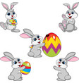 cartoon rabbit easter collection set vector image