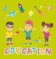 caucasian school children and word education vector image