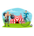 circus equilibrist on unicycle and muscleman show vector image vector image