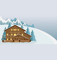 cozy wooden chalet in the mountains vector image vector image