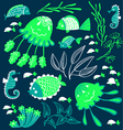 Cute cartoon fish jellyfish and seahorses vector image vector image