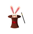 cute pink rabbit from circus magic top hat near vector image vector image