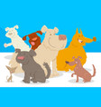 dogs and puppies cartoon characters group vector image vector image