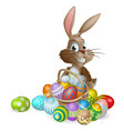 easter bunny rabbit with easter eggs basket vector image vector image