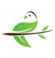 ecological abstract leaf bird icon vector image vector image