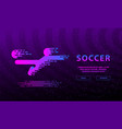 flying kick football player flat neon soccer vector image